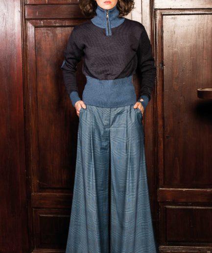 Marlene Hose Glencheck, Rollkragen Pullover Blau