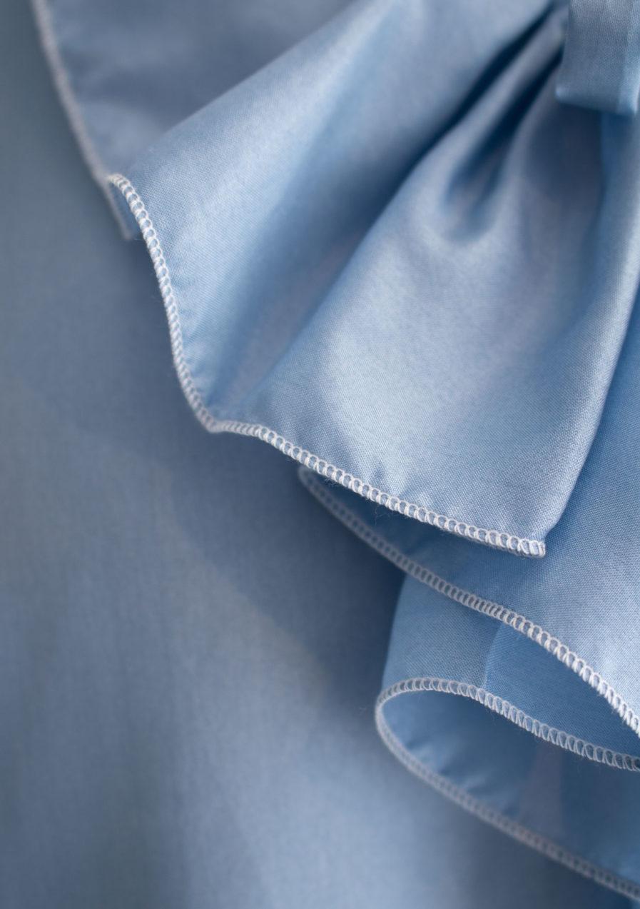 Jabot Seidenbluse Blau