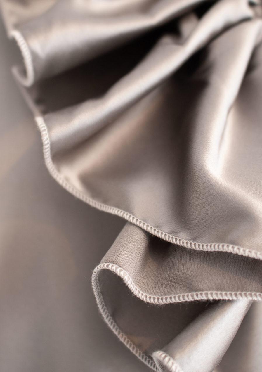 Jabot Seidenbluse Silber