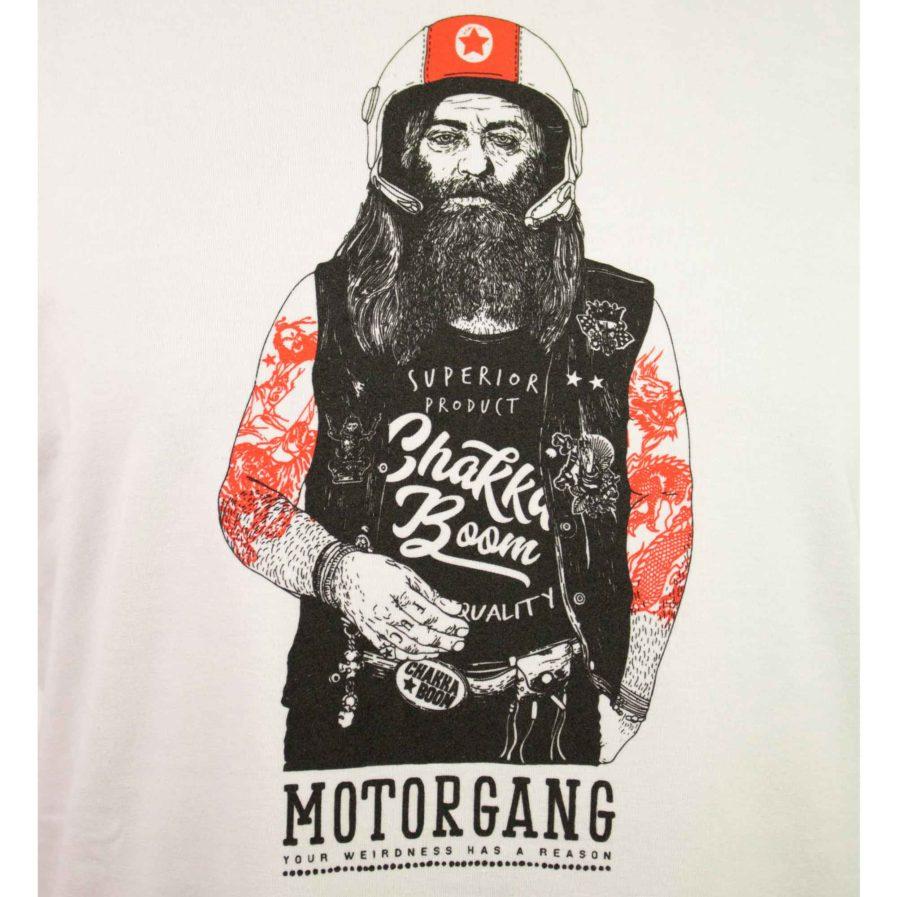 Moto T-shirt Biker Weiß