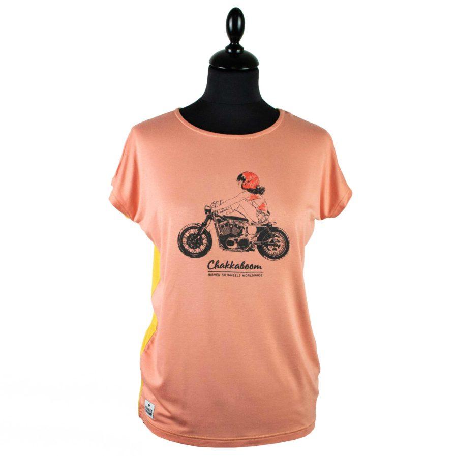 Moto T-shirt Bikergirl Rosa-Gelb
