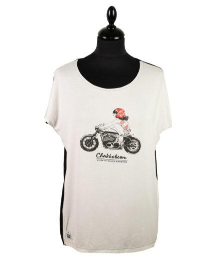 Moto T-shirt Bikergirl Schwarz-Weiß