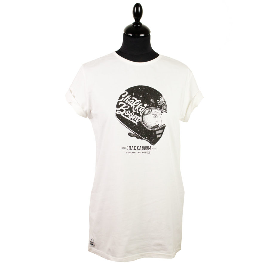 Moto T-shirt Helmet Weiß