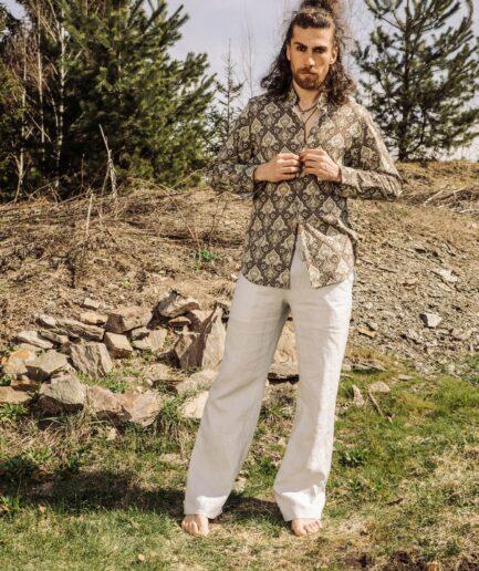 Herrenhemd-Paisley_Leinenhose-Amalfi-Hellgrau